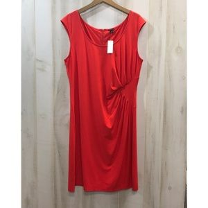 New Ann Taylor Red Sleeveless Dress Ruched Size 16